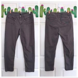 Lane Bryant Gray Zipper Trim Slim Fit Ankle Jeans